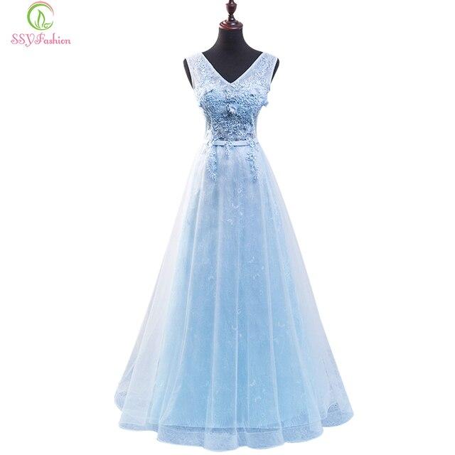 SSYFashion Long Evening Dress The Bride Light Blue Lace Flower V ...
