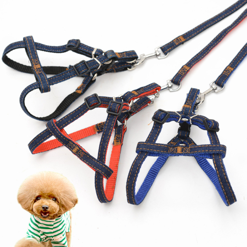Small medium Dog strips jean chihuahua bull terrier dogs leash harness set collar breast-band belt training walking lead leash