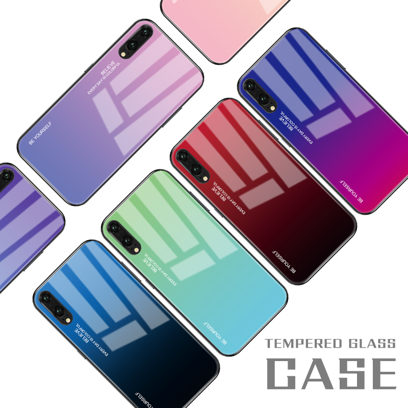 Gradient Tempered Glass Phone Case For Huawei Mate 20 10 P20 Pro P30 Lite Nova 3i 3E 4 Coque Capa For Honor 8X 9 10 Lite Cover(China)