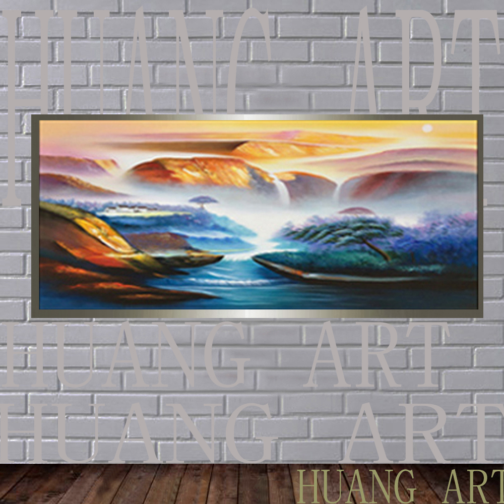 Handpainted High Quality Modern Landscape Oil Painting Winter The Lake Scenery Paintings For Lobby Home decorati Decorate thon
