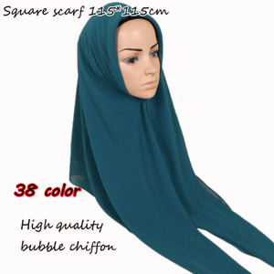 Image 1 - 115*115cm Popular High quality square size bubble chiffon shawls hijab headband wrap muslim 38 color scarves/scarf 10pcs/lot