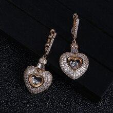 Форма сердца влюбленных кубического циркония Длинная подвеска Свадебная вечеринка большие серьги серебро/золото модные ювелирные изделия E9119