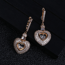 Lover Heart Shape Cubic Zirconia Long Pendant Wedding Party Big Earrings Silver/Gold fashion jewelry E9119 недорого