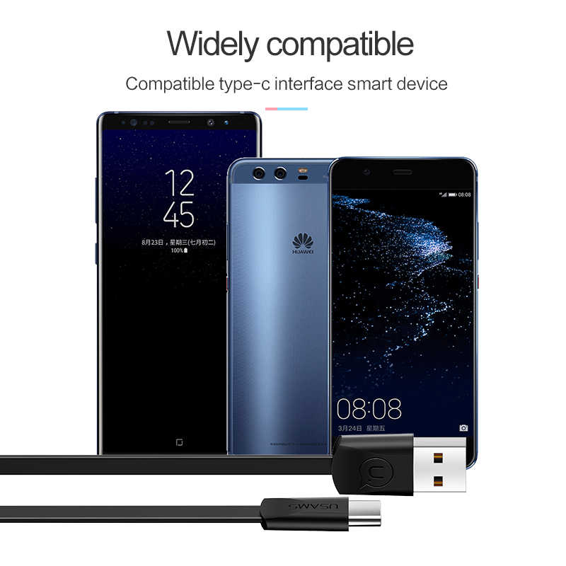 Кабель type-C для samsung Xiaomi Huawei OnePlus, USB-кабели типа c USAMS  зарядное USB-устройство