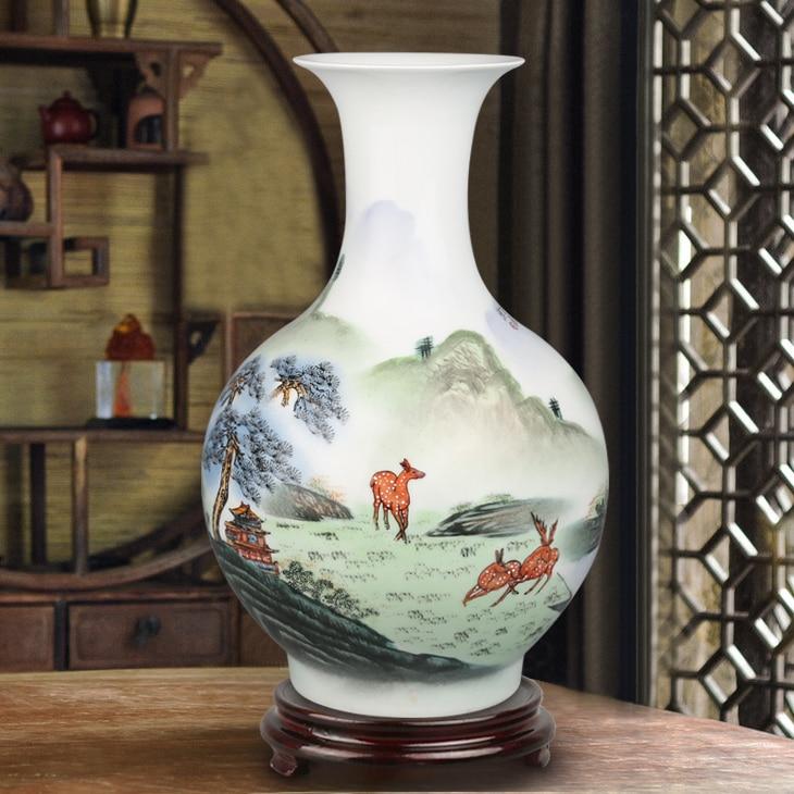 Jingdezhen ceramic flower vase ornaments hand-painted pastel room decorations Home Furnishing modern fashionJingdezhen ceramic flower vase ornaments hand-painted pastel room decorations Home Furnishing modern fashion