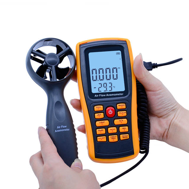 GM8902 0-45M/S Digital Anemometer Wind Speed Meter Air Volume Ambient Temperature Tester With USB Interface ar216 air flow anemometer digital wind speed meter tester