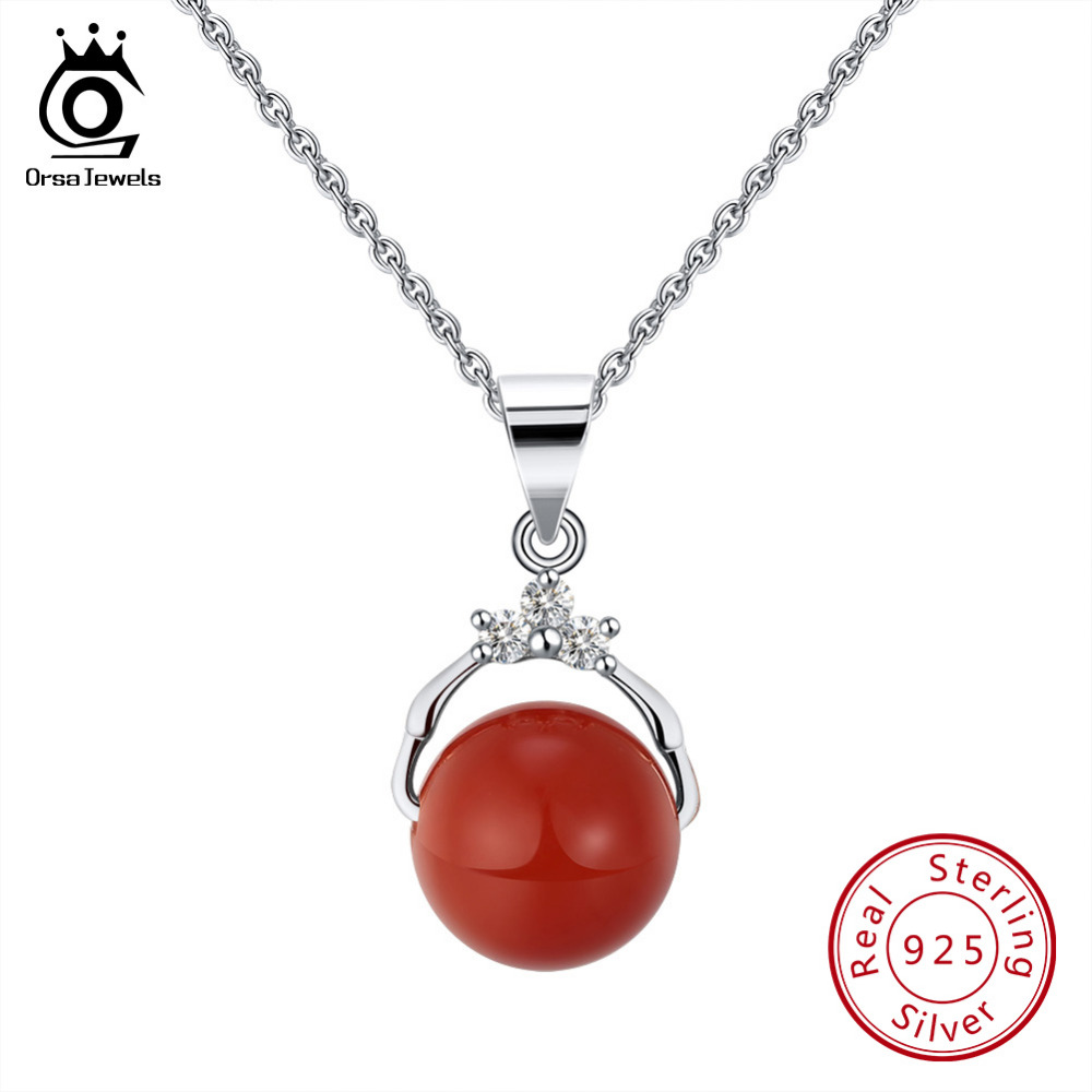 ORSA JEWELS Mode 925 Sterling Silver Pendant Kalung dengan Batu Alam - Perhiasan fashion - Foto 4