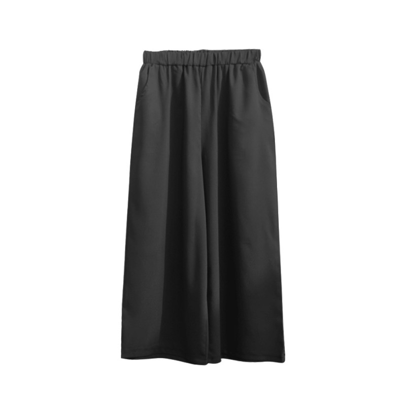 EFINNY Women Summer Nine Pants Casual High Waist Elastic Wide Leg Pants Solid Colors Fashion Trousers Plus Size
