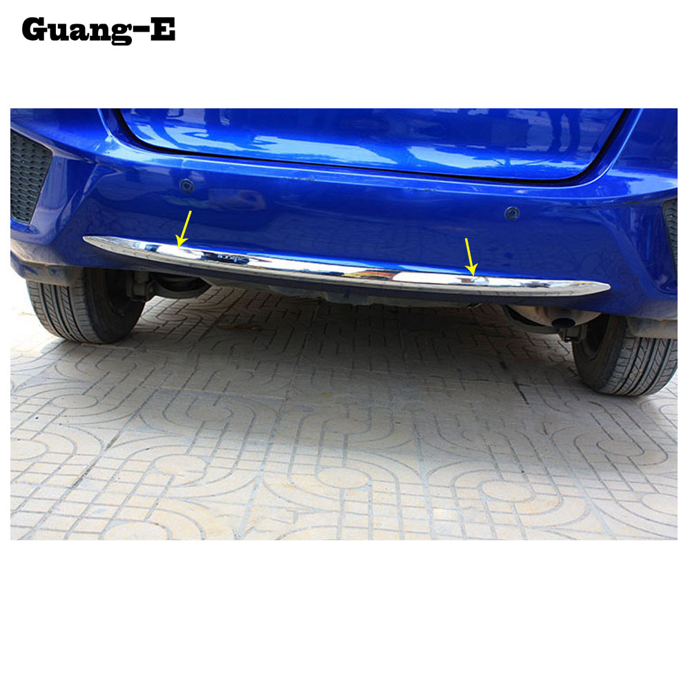 Car Body Cover Protection Bumper ABS Chrome Trim Rear Back Tail Bottom Hoods Parts 1pcs For Honda Fit Jazz 2014 2015 2016 2017|abs chrome|rear bumper trim|chrome parts for cars - title=