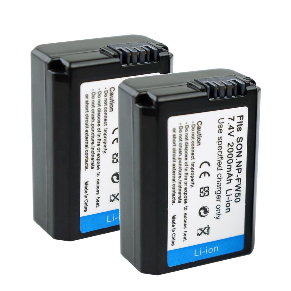 2Pcs NP-FW50 Camera Battery NPFW50 NP FW50 for SONY A5000 A5100 A7R NEX5 5R 5N A6000 A7 NEX6 NEX7 NEX5R NEX5N