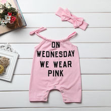 2017 pudcoco 2Pcs Newborn Baby Girl Pink Letter Romper Cute Sleeveless Jumpsuit Outfit Set Clothes Headband