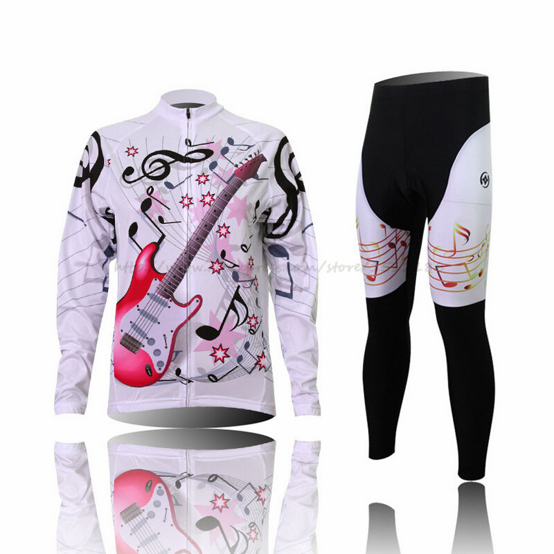ФОТО 2017 Winter Pro Cycling Jersey Set Long Sleeve Bike Trousers Breathable Women Sport Jerseys Cycling Clothing