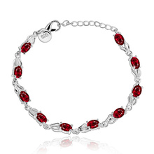 Sliver 925 Ruby Bracelet for Women Jewelry Gemstone 925 Sterling Silver colgantes de Bracelet red topaz Bizuteria 925 jewelry цены