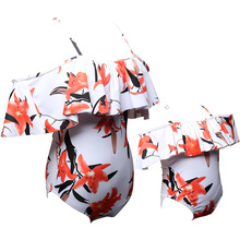 2018 New Women's Swimsuits Maternity Clothes parent-child Swimwear High Waist Printed Swimsuits Beach Bathing Suits