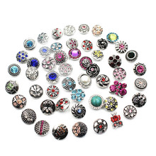 Mix 12pcs/lot Many Styles Rhinestone Elephant 12mm Alloy Snap Buttons Fit Bracelets For Women Watches DIY Jewelry