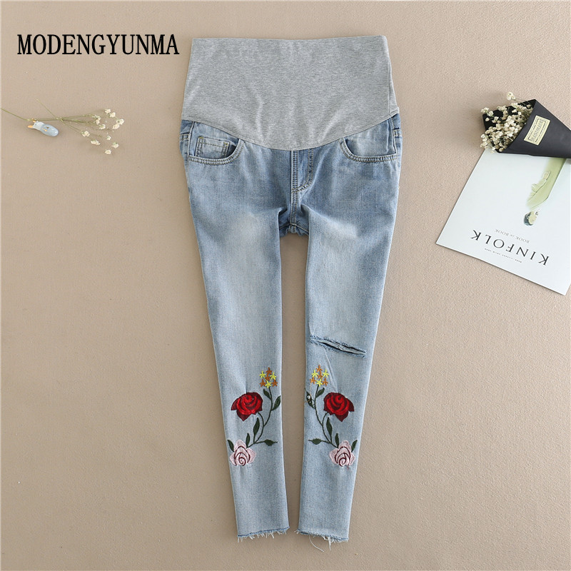 MODENGYUNMA Maternity jeans pants summer new pregnant women embroidered loose thin section Pregnancy pants Maternidade Vetement vintage women jeans calca feminina 2017 fashion new denim jeans tie dye washed loose zipper fly women jeans wide leg pants woman