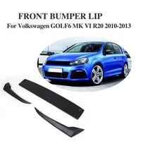 3 PCS Frente Lip Spoiler Splitter Flap Fit Para VW Golf VI 6 MK6 R20 Pára 2010-2013 Fibra De Carbono/FRP preto Bumper guarda