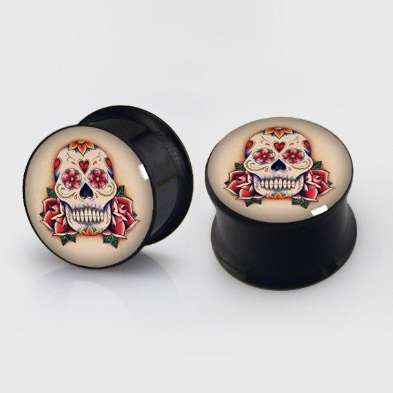 2 pieces sugar skull plugs anodized black ear plug gauges steel flesh tunnel body piercing jewelry 1 pair