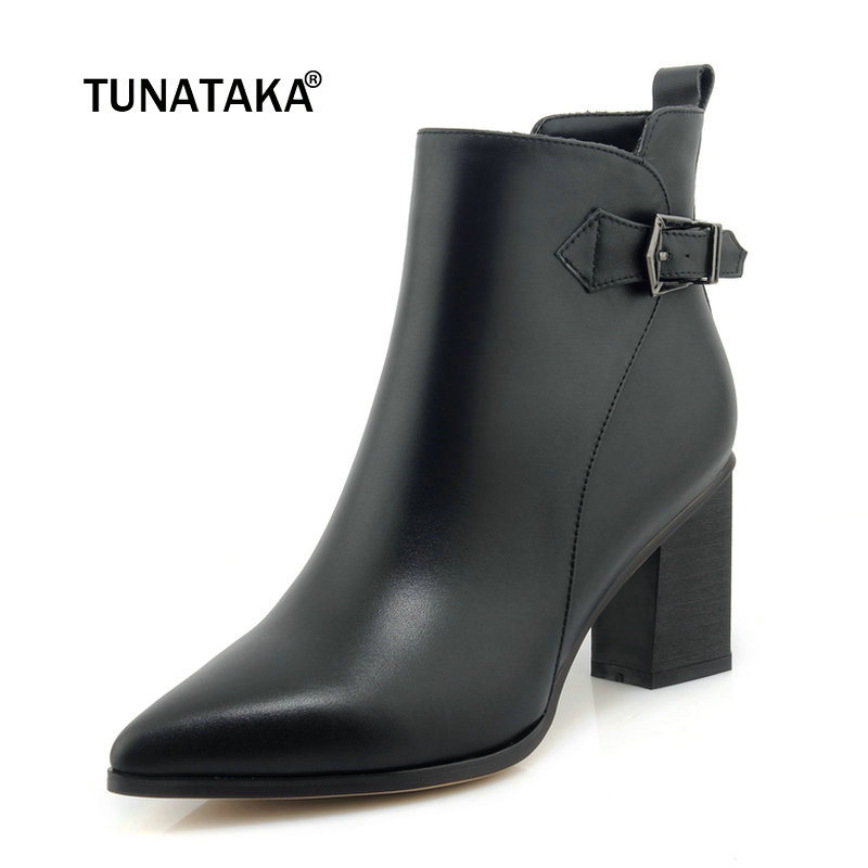 Ladies Genuine Leather Thick High Heel Ankle Boots Fashion Zipper Buckle Pointed Toe Winter Women Shoes Black Beige autumn winter women thick high heel genuine leather buckle side zipper pointed toe fashion ankle martin boots size 34 39 sxq0902