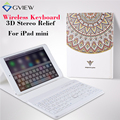 Для iPad mini Тонкий Планшетный Кожаный Чехол с Bluetooth Клавиатура 3D Рельефа Живопись Защитный Стенд шкафы для iPad mini 2 3