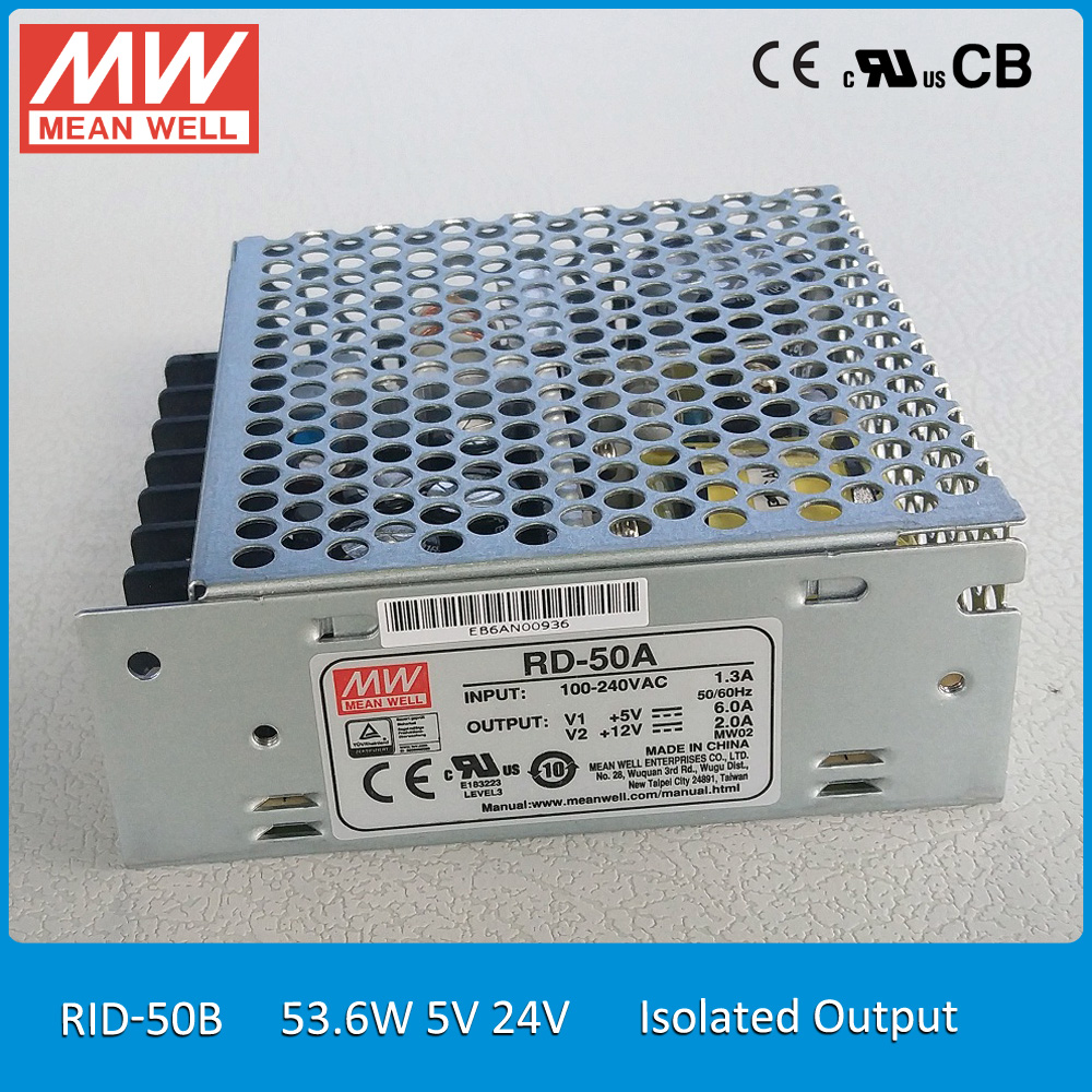 Original MEAN WELL RID-50B 53.6W 5V 24V Dual Isolated Output Meanwell Power Supply original mean well rd 35b 35w 5v 24v dual output meanwell power supply