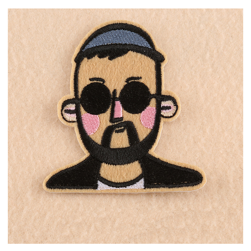 1pcs cool mustache man embroidered patch iron on sewing for Applique decoration