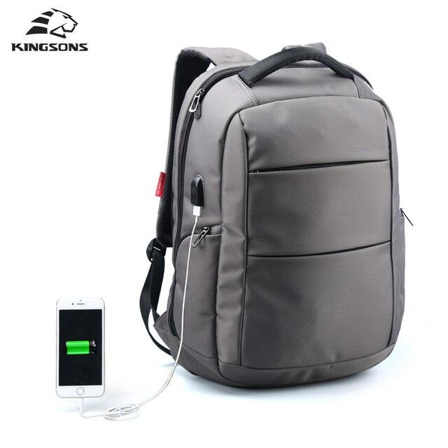 Kingsons Anti-theft External USB Charge Backpack Male Mochila Escolar Laptop Backpack men women School Bags Backpack for teens