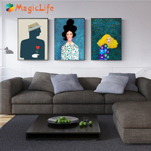 Romantic Decor Wall Art Canvas Painting Poster Wall Pictures Woman Fish For Living Room Art Prints Unframed цена