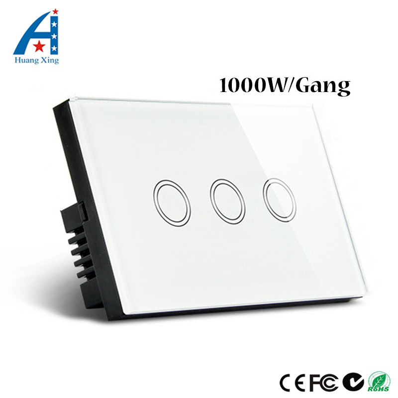 HUANGXING, AU/US Standard Touch Switch 1000W Light Switch 3Gang1Way, 3 Colors Crystal Glass Touch Panel Wall Switch Waterproof funry us au standard luxury crystal glass panel touch light switch 1 gang 1 way light switch wall switch for smart home