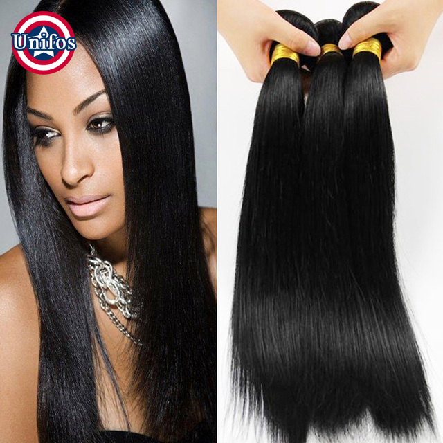 Jet Black Peruvian Straight Hair 3 Pcs 100 Percent Human Hair