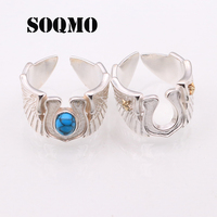 SOQMO 100% Real 925 sterling silver Jewelry Angel Wing Men Ring LOVE Gift for boyfriend SQM071