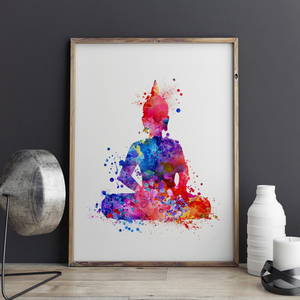 buddha wall art yoga print watercolor buddha art print home decor buddha painting wall pictures. Black Bedroom Furniture Sets. Home Design Ideas