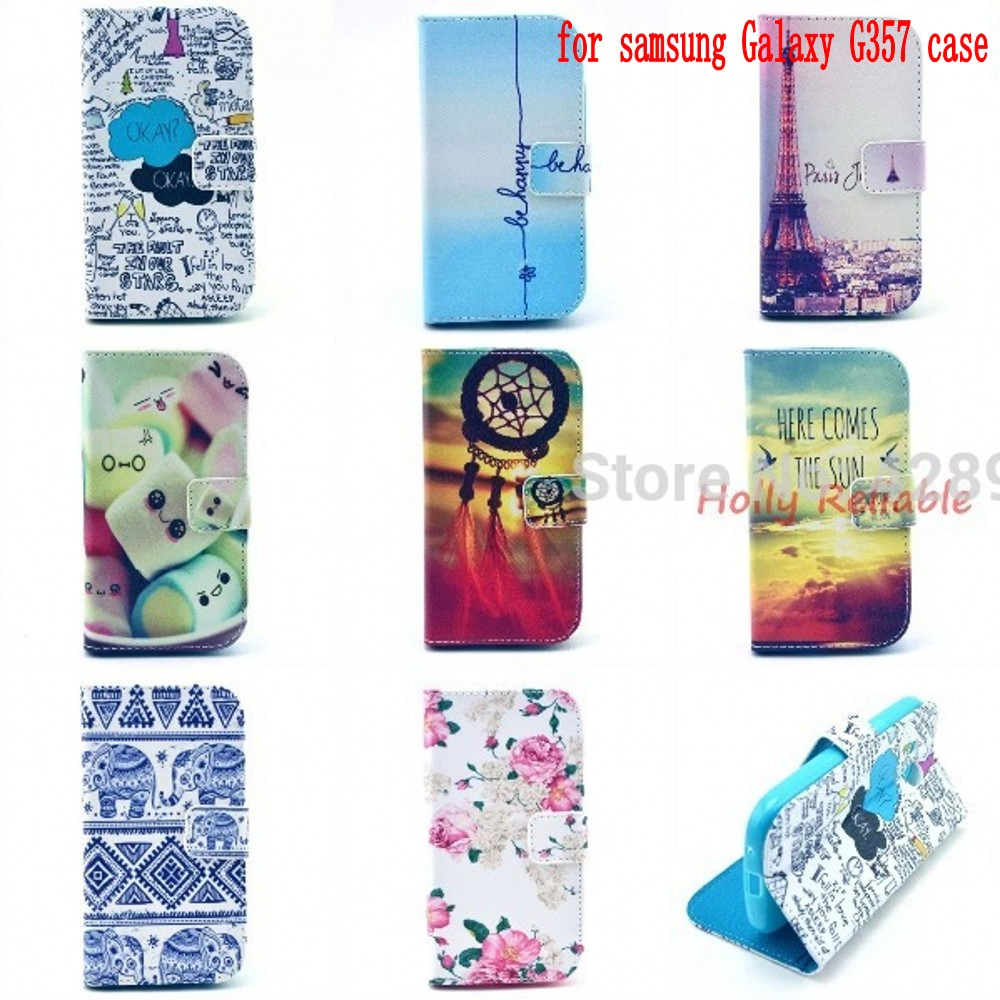 Luxury pu Leather Wallet Flip Cover Cartoon Stand Case Capa Samsung Galaxy Ace 4 Style LTE G357 G357FZ SM-G357 housing funda - Holly Reliable (HK store industry co.,LTD store)
