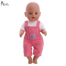 Fleta New pink rompers fit  43cm or 18 american Doll accessories n655