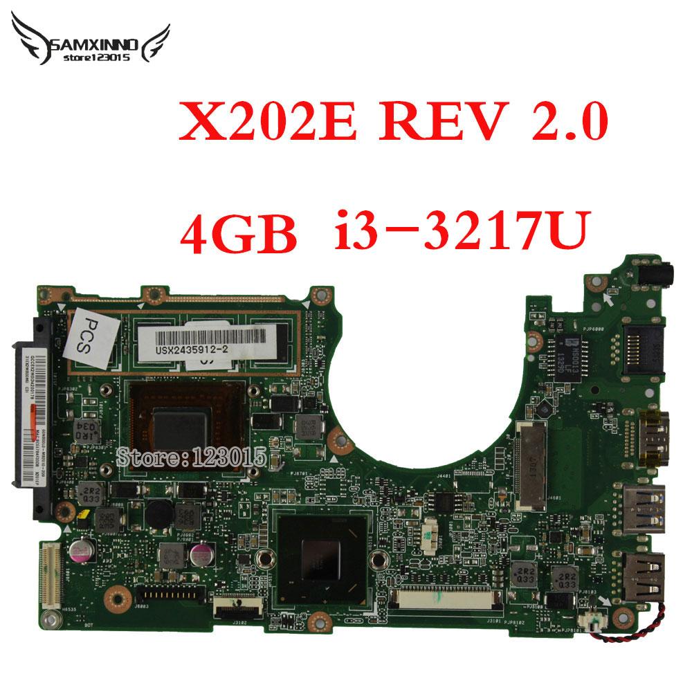For ASUS X202E Q202E S202E Laptop Motherboard REV 2.0 Intel i3-3217U 4GB RAM 60-NFQMB1B01-A05 Tested OK игра q u b e