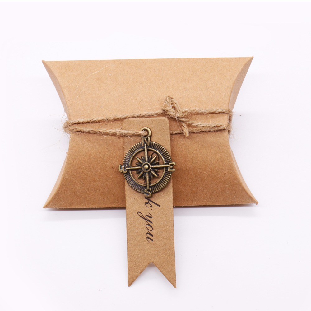 10pcs Wedding Souvenirs Candy Box+Compass+Tags for Compass Party Supplies Gifts