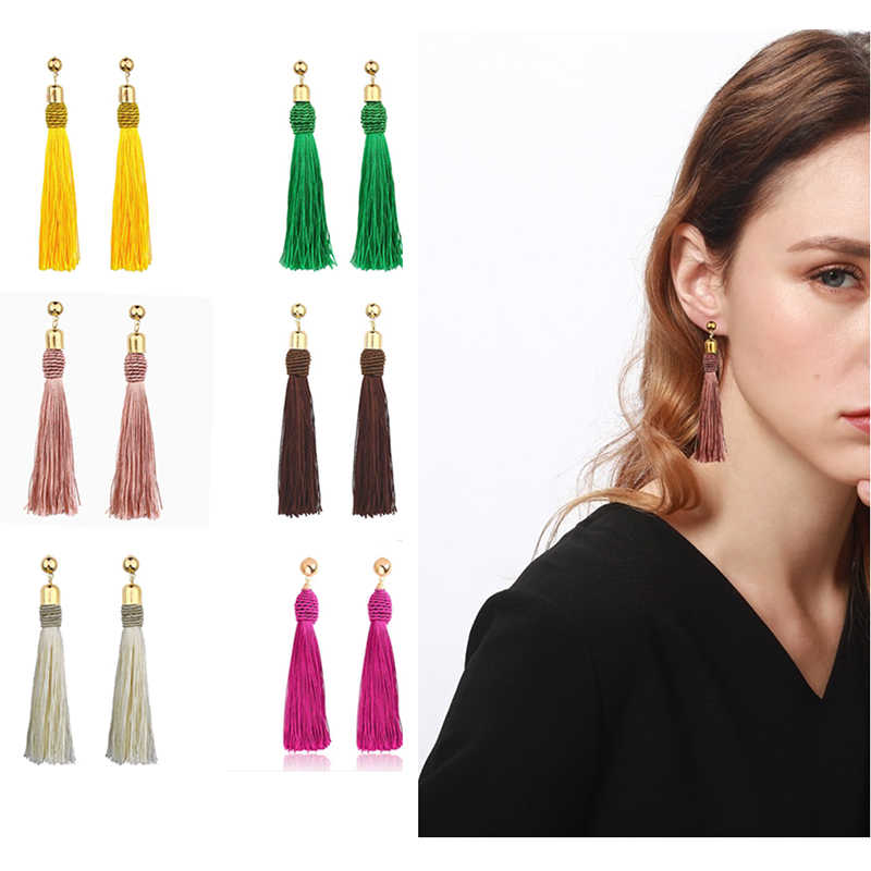 Trendy Bohemian Crystal Tassel Earrings Yellow Blue Red Pink Tassel Long Drop Dangle Tassel Vintage Earrings For Women