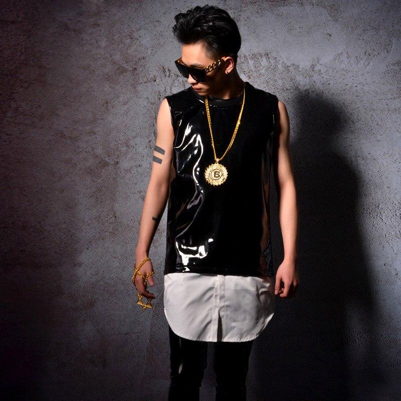 Personnalisé scène Costumes hommes 2 pièces épissure en cuir verni réservoir gilet Hip Hop Style mâle mode décontracté sans manches t-shirts