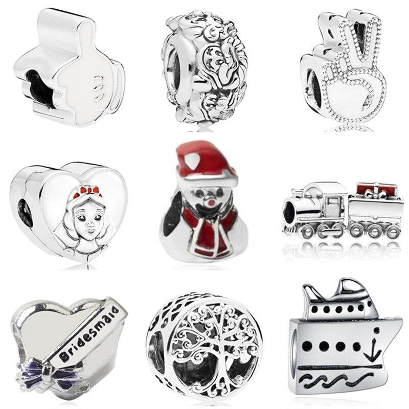 Simple Style Snow Man Cap Love Heart Queen Head Enamel Alloy Charm Beads Fit Pandora Diy Bracelets For Women Making Jewelry Gift