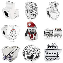 Simple Style Snow Man Cap Love Heart Queen Head Enamel Alloy Charm Beads Fit Pandora DIY Bracelets for Women Making Jewelry Gift(China)