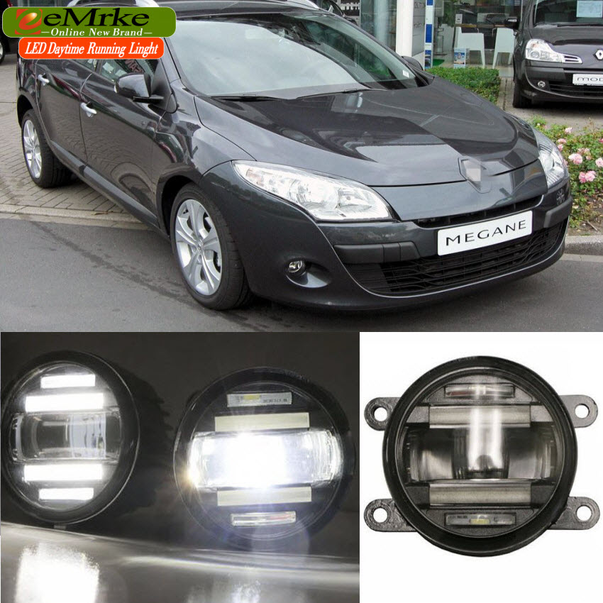 eeMrke Xenon White High Power 2in1 LED DRL Projector Fog Lamp With Lens For Renault Megane 2 2002 2007 / 3 2008 2016