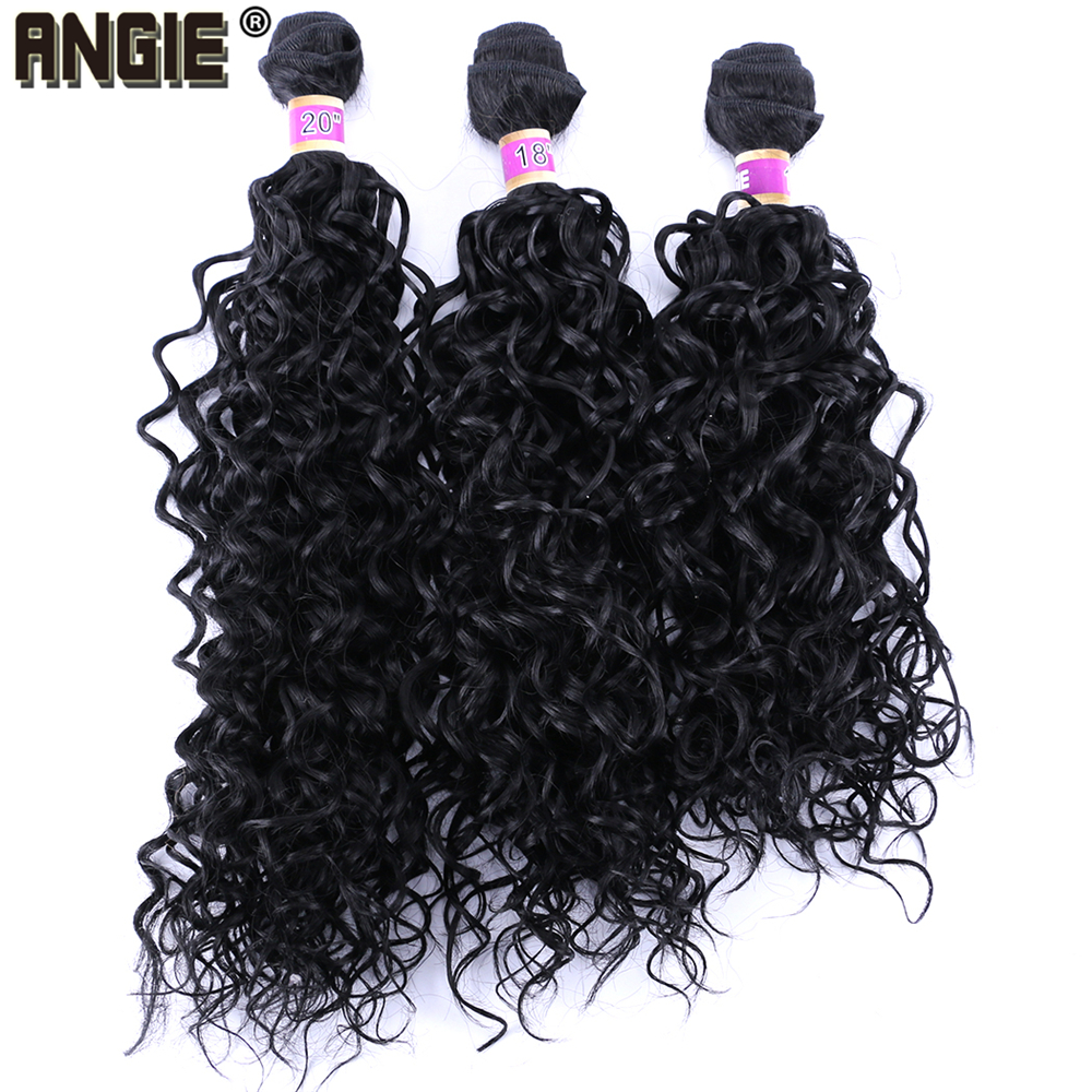 Angie 1 Bundle/Pack Water Curl Synthetic Hair Weave 18-20 Inch Pure Color Synthetic Extension Curly Hair Bundles