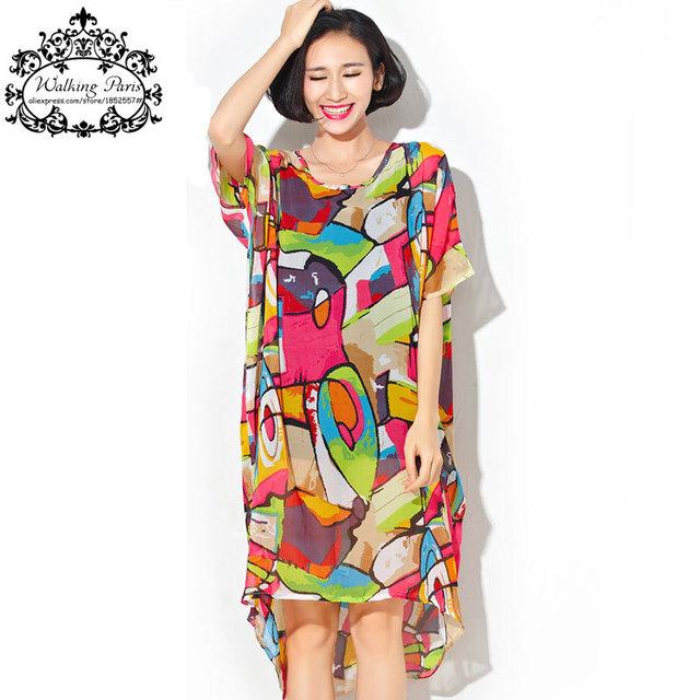 Plus size chiffon dress roupas coloridas moda longo t-shirt impressão verão das mulheres tamanho grande vestidos soltos femininas tops & tees