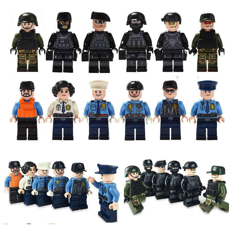 Военный Специальный городской полицейский строительный блок SWAT Armed Soldiers Force Legoings City Куклы Фигурки оружие детские игрушки мальчик