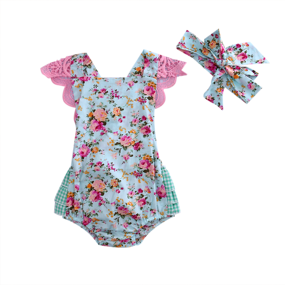2437e614f7ad Newborn Infant Kids Baby Girls Lace Floral Romper Jumpsuit Playsuit Outfits  Summer Baby Girl Clothing Handband 2pcs