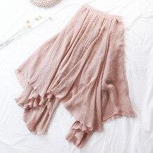 Fitaylor Summer Women Skirt High Waist Hem Asymmetric Casual Medium Long Cotton Linen Skirts Female Elastic Waist Vintage Skirt