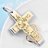 Neue design-statement 316L edelstahl gold silber drachen anhänger halskette für männer phantasie titan stahl schmuck BT1511