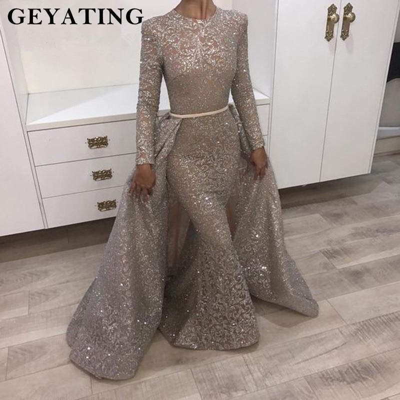 Yousef Aljasmi Long Sleeve Evening Dress 2018 Muslim Detachable Train Women Formal Evening Gowns Dubai Long Mermaid Prom Dress