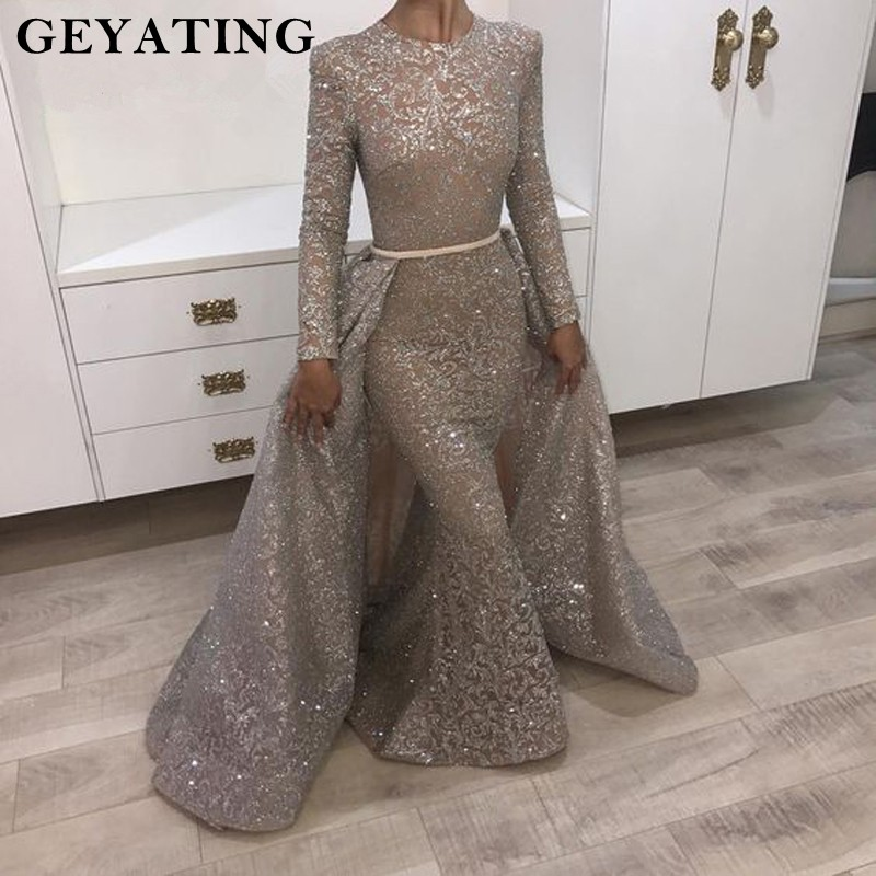 Yousef Aljasmi Long Sleeve Evening Dress 2019 Muslim Detachable Train Women Formal Evening Gowns Dubai Long Mermaid Prom Dress