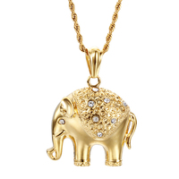 Gold Plated Stainless Steel Good Luck Elephant Crystal Rhinestones Pendant Necklace For Women 60cm Long Twisted